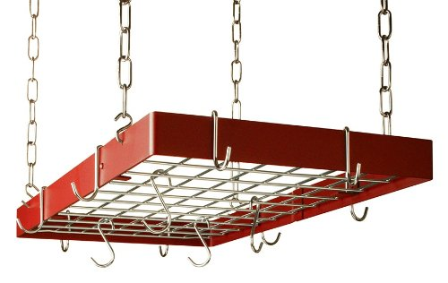 Grid Pot Rack in Red with Chrome Hooks