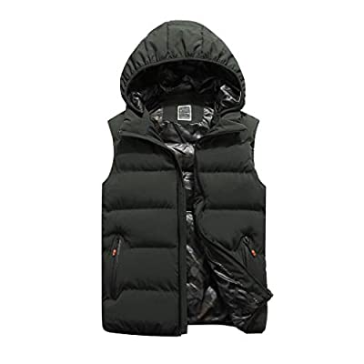 HDGTSA Men's Autum Winter Hooded Vest Waistcoat Solid OutwearJacket Tops Blouse at  Men's Clothing store
