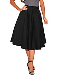 Lovezesent Women's High Waist A-Line Pleated Midi Skirt...