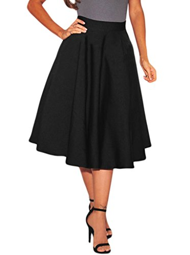 Lovezesent Women's Stretch High Waist A-Line Pleated Midi Skirt Medium Black (A Line Skirts For Women)