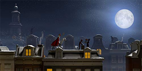 Laeacco 20x10ft Sinterklaas Nightscape Under Full Moon Backdrop Vinyl Saint Nicholas and His Servant Sending Gifts On The Roof Chimneys Holland Traditional Festival Celebration Background Wallpaper