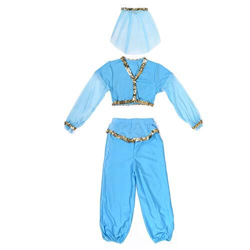 Jasmine Costume Kids Princess Girls Classic Fancy Dress Halloween Aladdin Party Belly Skirt Dance Pant Veil M