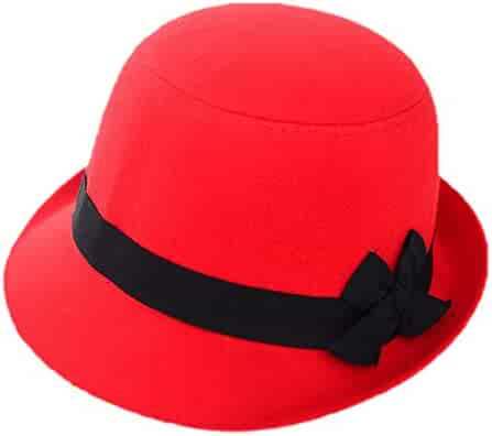 dbba49be912759 Freedi Bowler Hat Fedora Hats Dress Up Derby Hats Wide Brim Bow for Costume  Adults Women