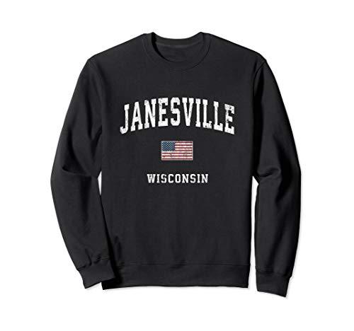 Janesville Wisconsin WI Vintage American Flag Sports Design Sweatshirt