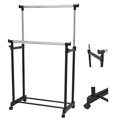 (Portable Double Rail Adjustable Garment Rack Rolling Clothes Hanger Heavy Duty New)