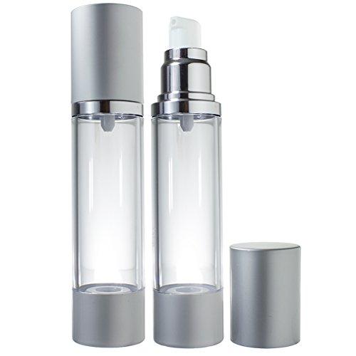 Airless Pump Bottle Silver Matte - 1.7 oz (2 Pack)