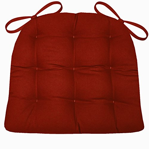Dining Chair Pad with Ties - Flame Red Cotton Duck Solid Color - Size Standard - Reversible, Latex Foam (Apple Chair Pad)