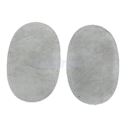 Pair Sew-On Fabric Oval Elbow Knee Patches Sweater Trousers Repair Craft Supply Grey by sfcdirect
