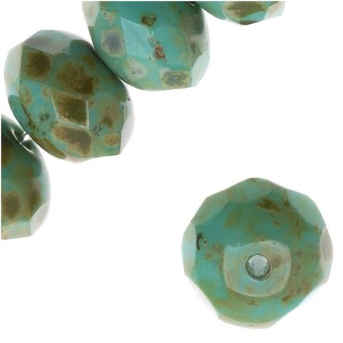 Donut Polished Czech Fire - Czech Fire Polished Glass, Donut Rondelle Beads 8.5x5.5mm 'Turquoise/Full Coat Picasso' /12
