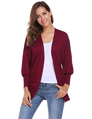 Jersey Shrug (ELESOL Women's Classic V Neck Button Down Long Batwing Sleeve Basic Cardigan Sweater Boyfriend Cardigan Jersey Shrug Dark Red/S)