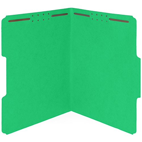 50 Green Fastener File Folders- 1/3 Cut Reinforced Assorted tab- Durable 2 Prongs Designed to Organize Standard Medical Files, Law Client Files, Office Reports– Letter Size, Green, 50 Pack