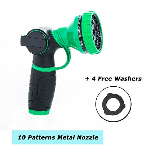Gardenvc No-Squeeze Heavy Duty Garden Hose Nozzle, 10 Pattern Anti-Leak Hand Sprayer, High Pressure Spray Nozzle for All Your Lawn and Garden Needs