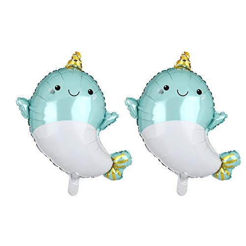 2 Pcs 28 Inch Giant Light Blue Happy Narwhal Super Shape Foil Mylar Balloon Birthday Decorations Party Supplies Baby Showers (Narwhal Baby Shower)
