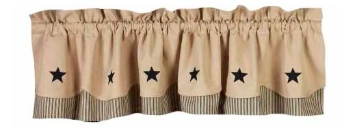 Home Collection by Raghu Fairfield Valance with Black Star,