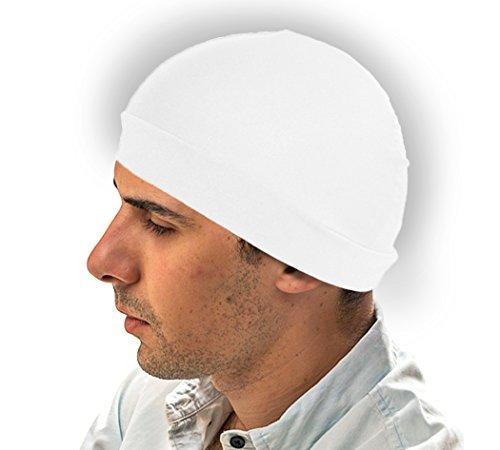 Lycra Skull Cap - White Dome hat - Spandex Wave Builder Du-rag Cap