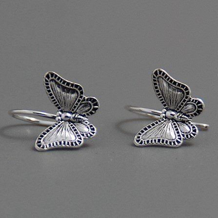 usongs High-end fashion 925 sterling silver earrings retro Thai silver earrings Ms earrings ear hook earrings women girls Butterfly Dream by usongs