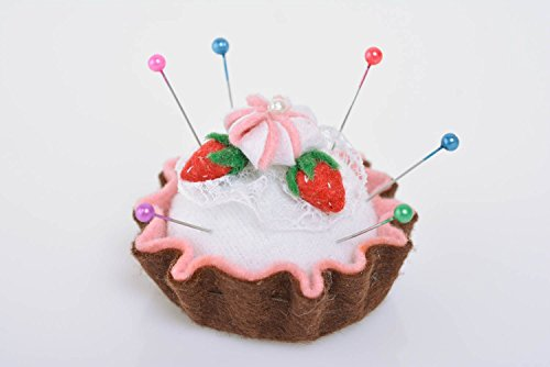 - Beautiful handmade decorative felt fabric soft pin cushion Cake with Strawberry interior design ideas