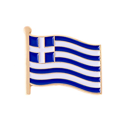 Greece Country Flag Lapel Pin Made of Metal Souvenir (Waving Flag Lapel - Greece Official