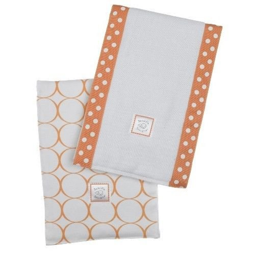 SwaddleDesigns Baby Burpies, Set of 2 Cotton Burp Cloths, Orange Mod (Orange Mod Circles)