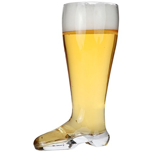 Lily's Home Das Boot Oktoberfest Beer Stein Glass, Great for Restaurants, Beer Gardens, and Parties or as a Funny Bachelor Party Gift, Jackboot Style, (1 Liter Capacity, 9.8