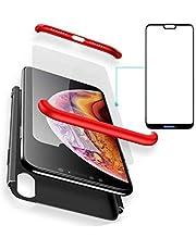 BCIT Funda Huawei P20 Lite 360 Grados Integral para Ambas Caras + Cristal Templado, Luxury 3 in 1 PC Hard Skin Carcasa Case Cover