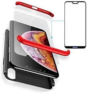 BCIT Huawei P20 Lite Funda Funda Huawei P20 Lite 360 Grados Integral para Ambas Caras + Cristal Templado, Luxury 3 in 1 PC Hard Skin Carcasa Case Cover para Huawei P20 Lite (Rojo & Negro)