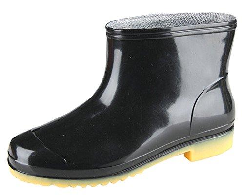 Idifu Heren Ademend Antislip Korte Laarzen Regenlaarzen Enkel Hoge Rubberen Schoenen Zwart 1