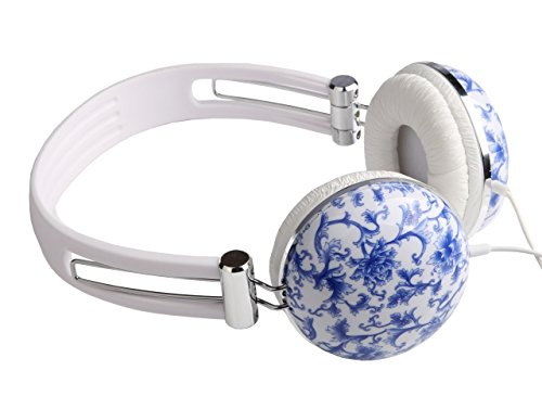 Vantage Decor Over Ear Headphones for iPhone Android Tablet Laptop Blue Floral by Vantage Decor