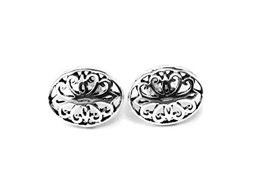 (GreenCatJewelry 20 gauge (0.8mm) 925 Sterling Silver Cartilage Post Earrings Stud Vintage Filigree Oval Shape 1/2 (12mm) Long)