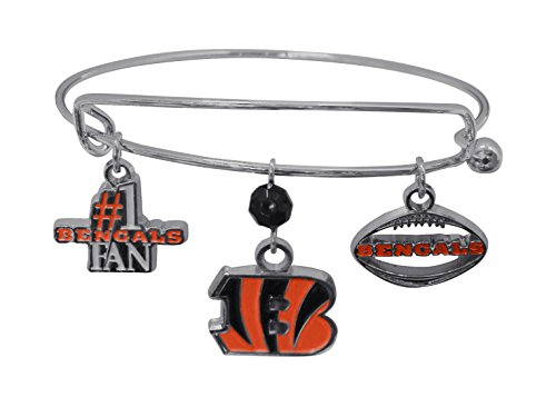 NFL Cincinnati Bengals Three Charm Logo Bracelet (Cincinnati Bengals Charm)