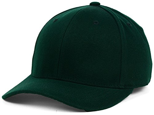 Top Of The World By Lids HOME RUN One-Fit Stretch Fitted Blank Baseball Hat Cap (One Size Fits Most, Forest Green)