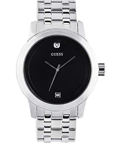GUESS Factory Men's Black and Silver-Tone Diamond Dress Watch (Guess Black Diamond Accent Watch)