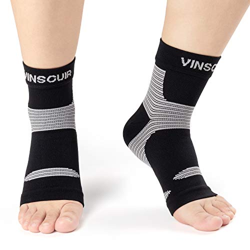 Ankle Brace Compression Support Sleeve (1 Pair) – Vinsguir Ankle Compression Socks for Plantar Fasciitis, Arch Support, Foot & Ankle Swelling, Injury Recovery (Gray, Small)