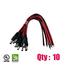 iMBAPrice iMBA-CCTV-PGTM-10 CCTV Security Camera DC Male Power Plug Pigtail Cable - Pack of 10 (Black/Red)