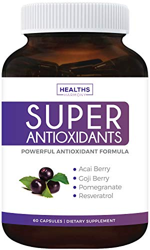 Super Antioxidant Supplement | Powerful Super Food Antioxidants Blend | Acai Berry, Goji Berry, Pomegranate & Trans Resveratrol | Natural Herbal & Fruit Formula | Skin Care | Made in - Antioxidant Booster