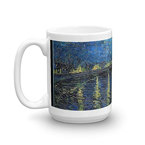 Art Framed Rhone (Van Gogh - Starry Night over the Rhone (framed) 15 Oz White Ceramic)
