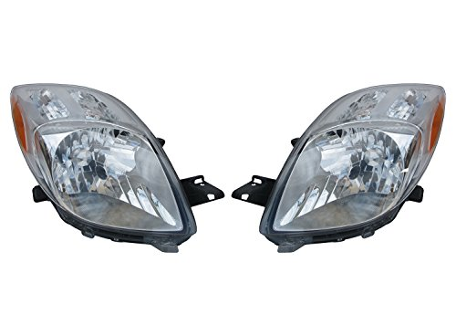 HEADLIGHTSDEPOT Chrome Housing Halogen Headlight Compatible with Toyota Yaris 2007-2008 Includes Left Driver and Right Passenger Side Headlamps