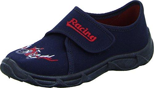 Sneakers Robert Hausschuhe Kinderschuh Jungen Textil Stickmotiv Motorrad Racing Farbe: Blau/ Rot