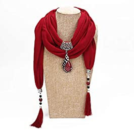 Baiyao Women Scarf With Long Tassels,200x40cm Women Vintage Solid Color Ethnic Style Scarf Peacock Pendant Scarf Water Drop Rhinestone Pendant Jewellery Shawl Necklace For Women Lady Girls
