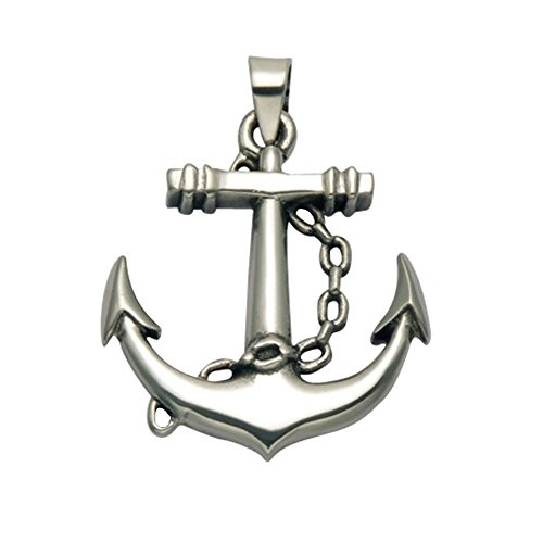 (Wild Things Sterling Silver Nautical Anchor Pendant w/Chain Detail)