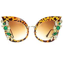 Cat Eye Sunglasses Animal Print with Diamond