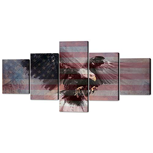 (Yatsen Bridge 5 Panels Modern American Flag Decor Bald Eagle USA Flag Picture Prints on Canvas Giclee Artwork Rustic Art Prints Stretched Ready to Hang for Home and Office Decor - 50''W x24''H )