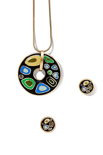 open-circle-pendant-necklace-and-pierced-earrings-snake-chain-studs-jewelry-set-black-green-sky-blue