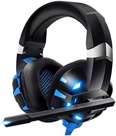HNSYDS ゲーミングヘッドセットヘッドセット 小麦デュアルオーディオステレオヘッドフォン付きの調整可能 ゲーミングヘッドセット (Color : Blackblue)