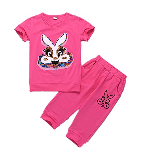 Tsyllyp Girls Kids Rabbit Flip Sequin Pants Sets Fashion Clothing Set Outfits