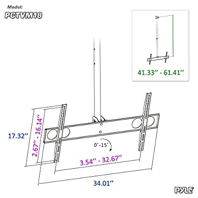 Adjustable Height TV Ceiling Mount - Tilting Vertical VESA Universal Monitor Mounting Bracket w/ Telescoping Arm, Mounts 37 to 70 Inch HDTV, LED, LCD, Flat Screen Television Up to 50 KG - Pyle PCTVM18