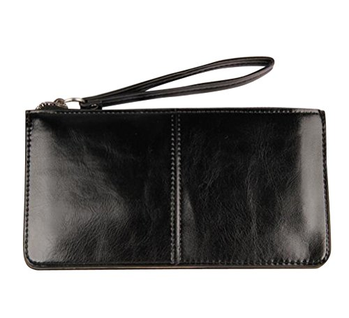 iToolai Women's Solid Color PU Leather Wristlet Clutches Purse Wallet Credit ID Cards Holder,Black by iToolai