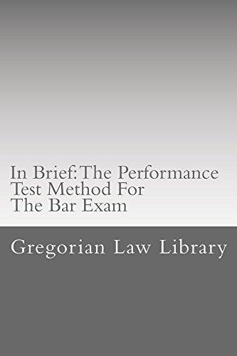 Pdf Law California Bar Exam: The Performance Test Method: Law school/Exams