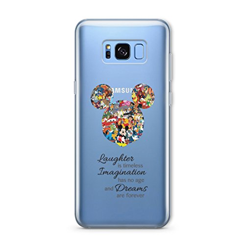 Cartoon Movie Character Themed Fan Art CLEAR Hybrid TPU Surround with Hard Back Cover Case for Samsung Range - Samsung Galaxy S5-Mickey Mouse Disney Themed Quote
