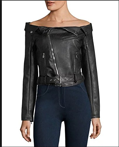 Romeo & Juliet Couture Off-the-Shoulder Faux-Leather Moto Jacket RETAIL 235$ M